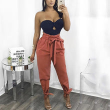 Load image into Gallery viewer, Solid Color High Waist Loose Casual Pants With Belt