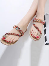 Load image into Gallery viewer, Bohemian Rhinestone Toe Beach Sandal