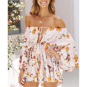 Sexy Floral Deep V Collar Off Shoulder Flare Long Sleeve Top Ruffled Pants Jumpsuit