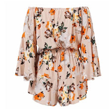 Load image into Gallery viewer, Sexy Floral Deep V Collar Off Shoulder Flare Long Sleeve Top Ruffled Pants Jumpsuit