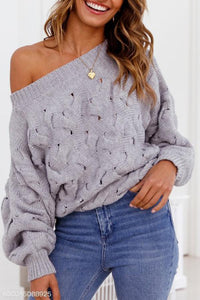 Sexy One Shoulder Plain Casual Sweater