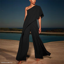 Load image into Gallery viewer, Sexy Single Shoulder Pure Color High-Waisted Wide-Legged Jumpsuit
