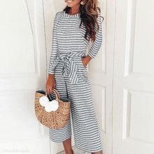 Load image into Gallery viewer, Round Neck Long Sleeve Stripes Lace Up Jumpsuits