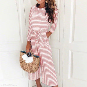Round Neck Long Sleeve Stripes Lace Up Jumpsuits