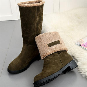 Fashion Mid-tube Thick-heel Snow Boots
