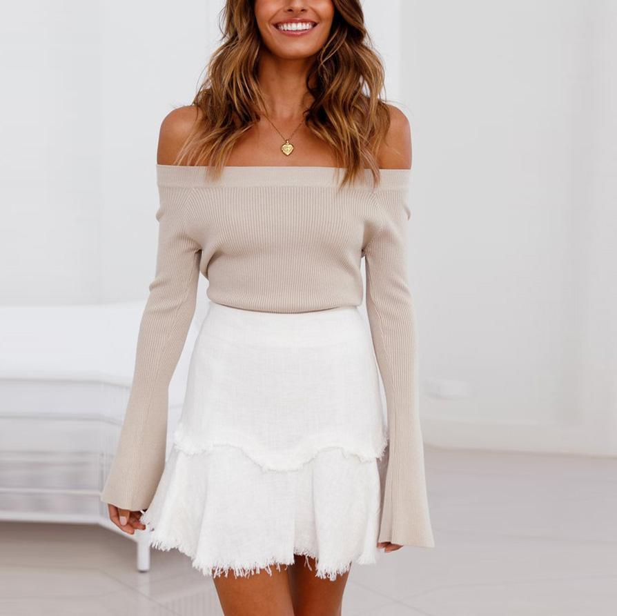 Fasion Sexy Off Shoulder Bell Sleeve Sweaters