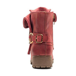 Fashion Low Heel Shoes Buckle Leather Ankle Boots
