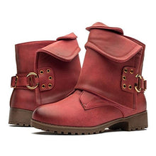 Load image into Gallery viewer, Fashion Low Heel Shoes Buckle Leather Ankle Boots