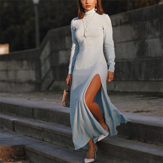 Fashion High Collar Slim Plain Slit Maxi Dress