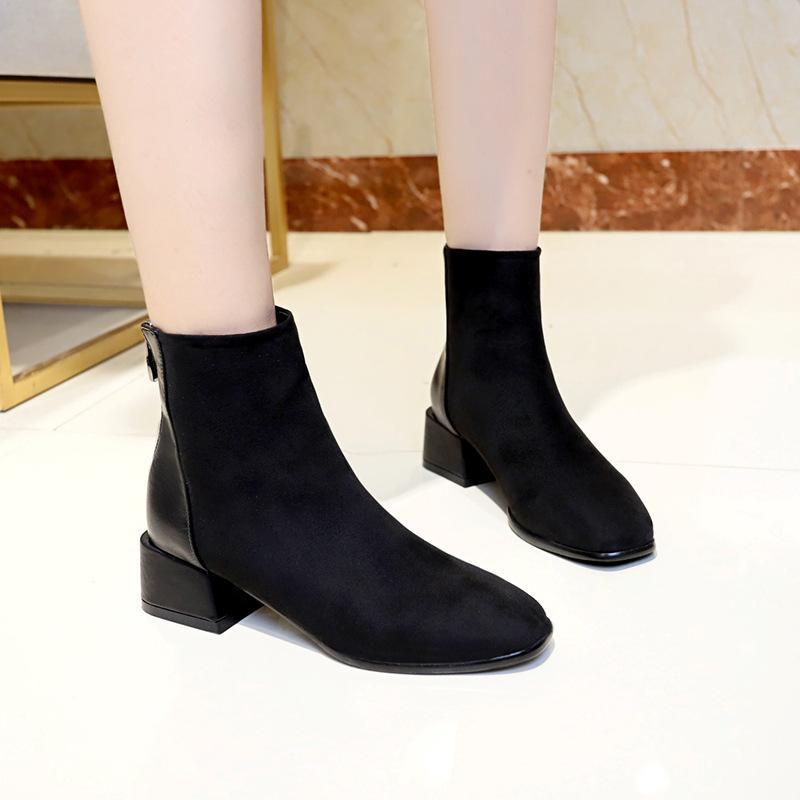 Anti-Skid Back Zipper Design Chunky Heels Ankle Boots