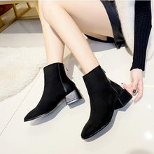 Load image into Gallery viewer, Anti-Skid Back Zipper Design Chunky Heels Ankle Boots