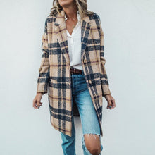 Load image into Gallery viewer, Vintage Lapel Collar Check Button Loose Woolen Long Coat