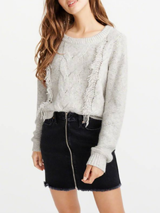 Fashion Pure Colour Tassel Round Neck Sweater