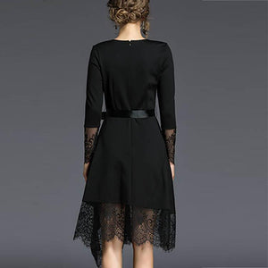 Elegant Pure Color Lace Stitching Long Sleeve Skater Dress