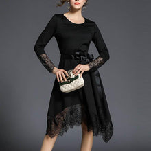 Load image into Gallery viewer, Elegant Pure Color Lace Stitching Long Sleeve Skater Dress