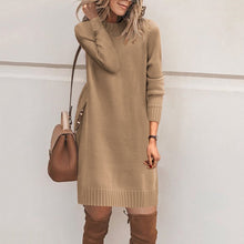Load image into Gallery viewer, Fashion Plain Long Sleeve Casual Dress Sweater Dresses