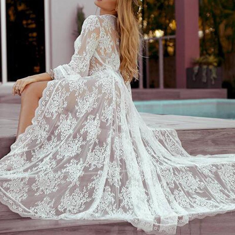 Sexy Lace Loose Beach Long Sleeve Maxi Dresses Cardigan