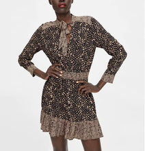 Load image into Gallery viewer, Tied Collar Waistband Leopard Print Dress