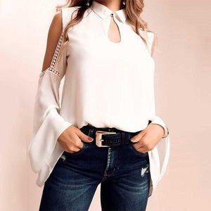 Fashion Pure Colour   Off-Shoulder Long Sleeve Top