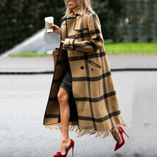 Load image into Gallery viewer, Chic Casual Color Block Plaid Lapel Shoulder Padded Long Coat