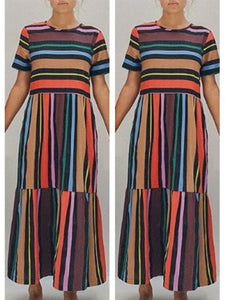Fabulous Round Neck  Striped Shift Dresses