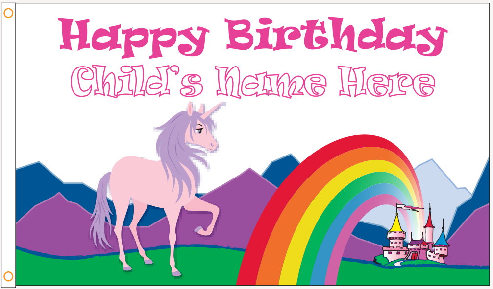 "Custom ""Happy Birthday"" Unicorn Flag - ColorFastFlags 