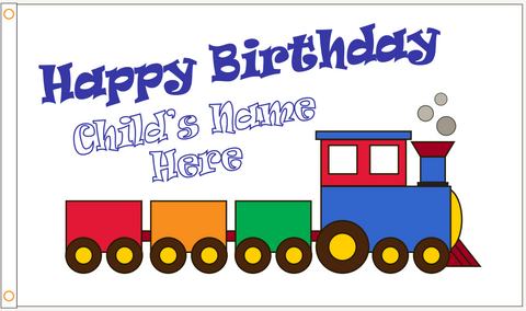"Custom ""Happy Birthday"" Train Flag - ColorFastFlags 