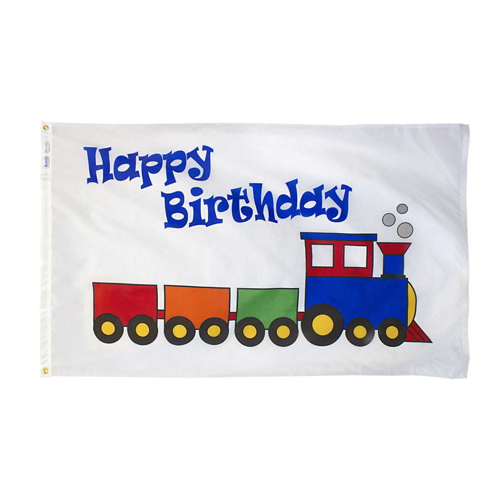 Happy Birthday Train Flag - ColorFastFlags | All the flags you'll ever need!