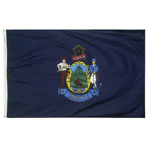 "Maine Courtesy Flag 12"" x 18"" - ColorFastFlags 