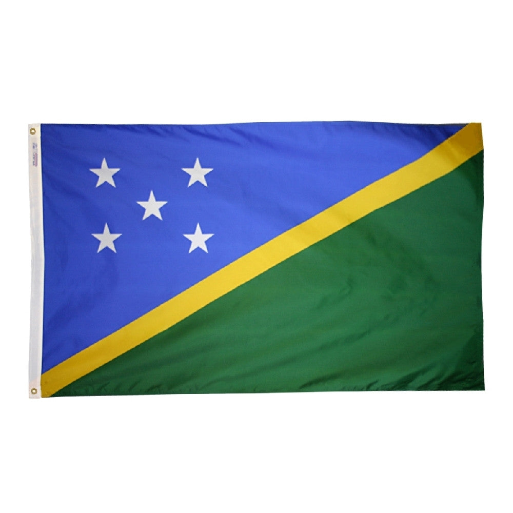 "Solomon Islands Courtesy Flag 12"" x 18"" - ColorFastFlags 
