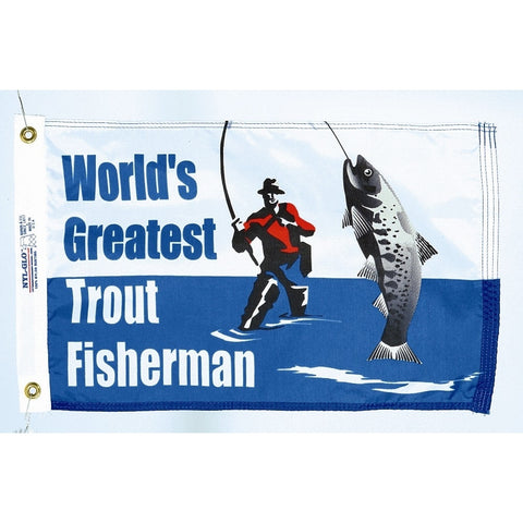 World's Greatest Trout Fisherman Flag - ColorFastFlags | All the flags you'll ever need!