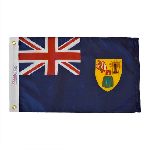 "Turks & Caicos Courtesy Flag 12"" x 18"" - ColorFastFlags 