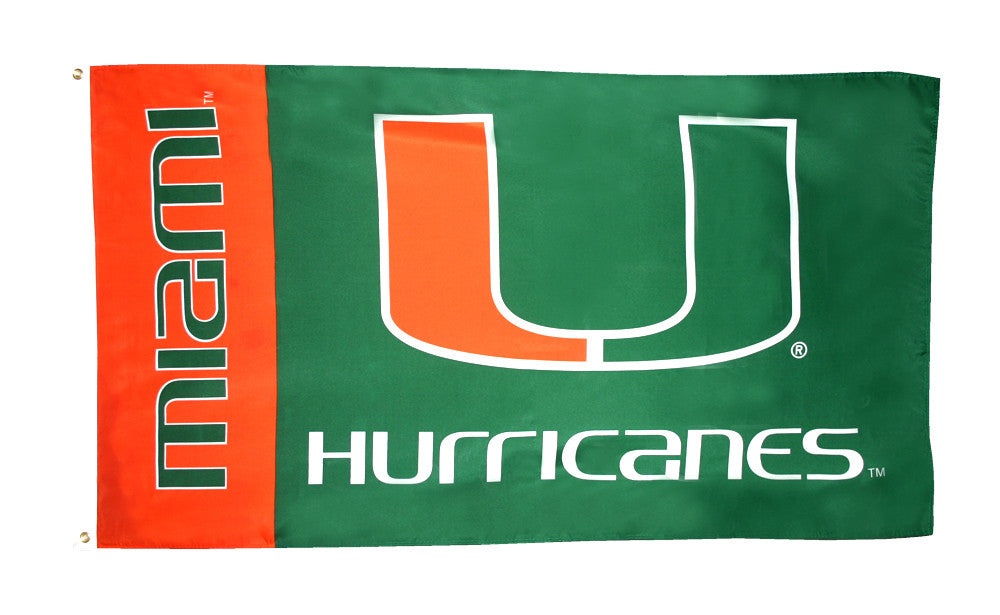Officially Licensed University of Miami Hurricanes 3' x 5' Flags - ColorFastFlags | All the flags you'll ever need!