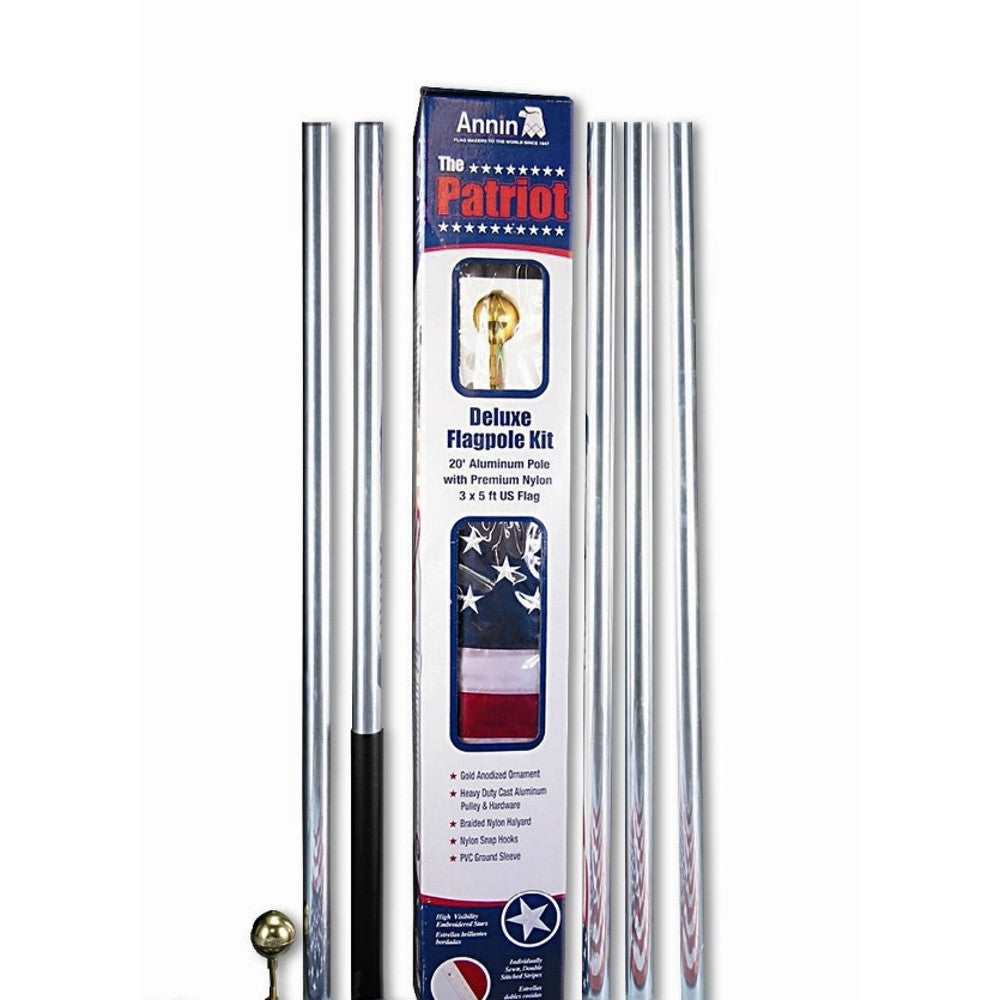 Patriot 20 ft. Aluminum Flagpole with 3 ft. x 5 ft. Nylon US Flag - ColorFastFlags | All the flags you'll ever need!
