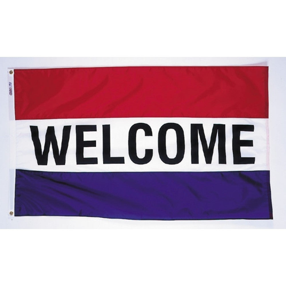 Welcome Flag with Red, White and Blue Stripes - ColorFastFlags | All the flags you'll ever need!   - 1