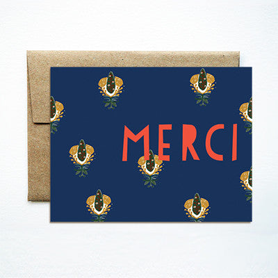 Calico navy merci card - Ferme à Papier