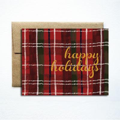 Foil Happy Holidays Red Plaid - Ferme à Papier