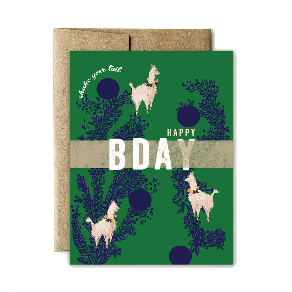 Llama shake your tail birthday card - Ferme à Papier