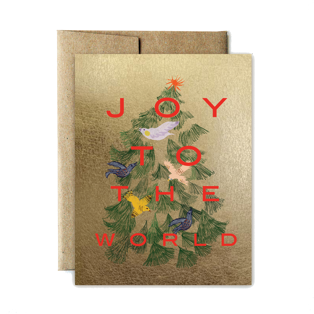 bird tree joy holidays set