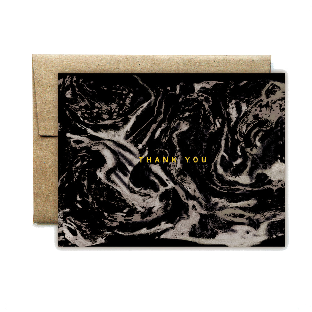 Foil carrara black thank you card - Ferme à Papier
