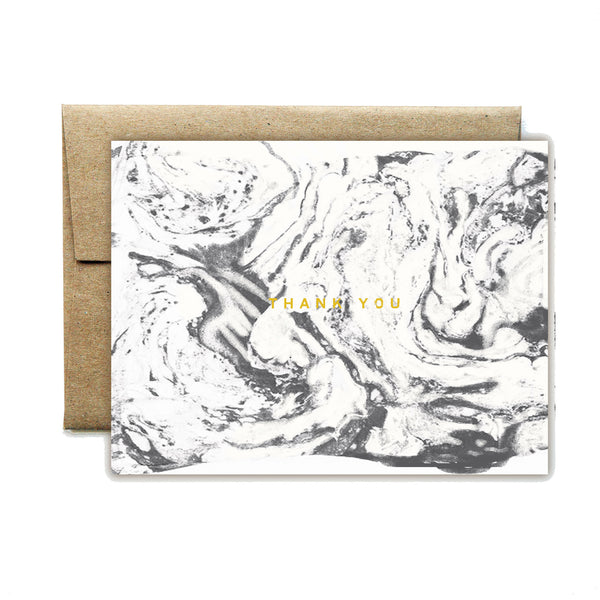 Foil carrara white thank you card - Ferme à Papier