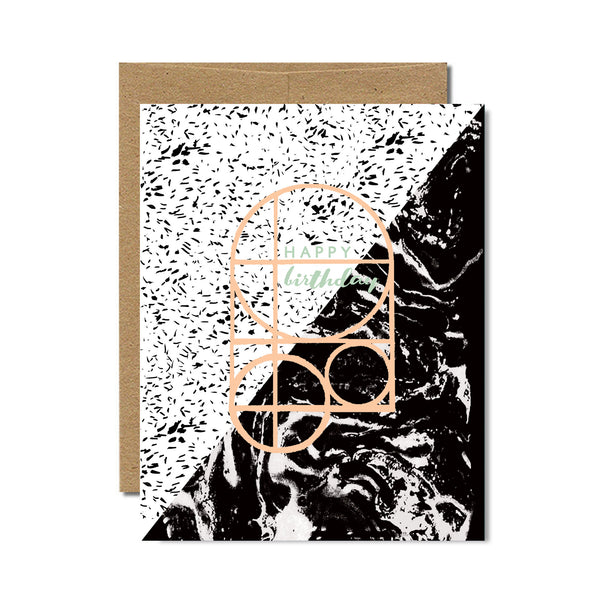 Marble specks birthday card - Ferme à Papier