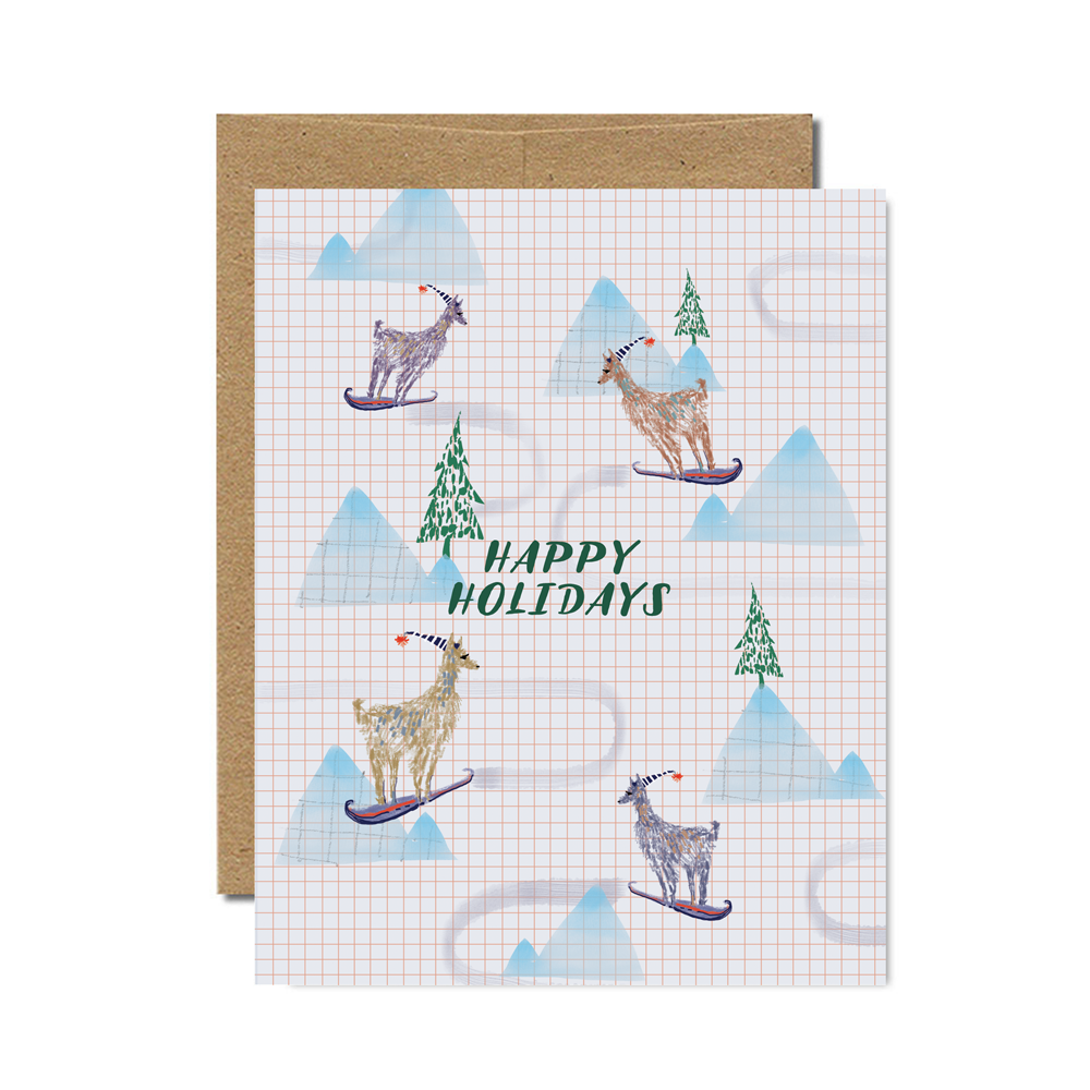 Happy Holidays Sledding Llamas Set - Ferme à Papier