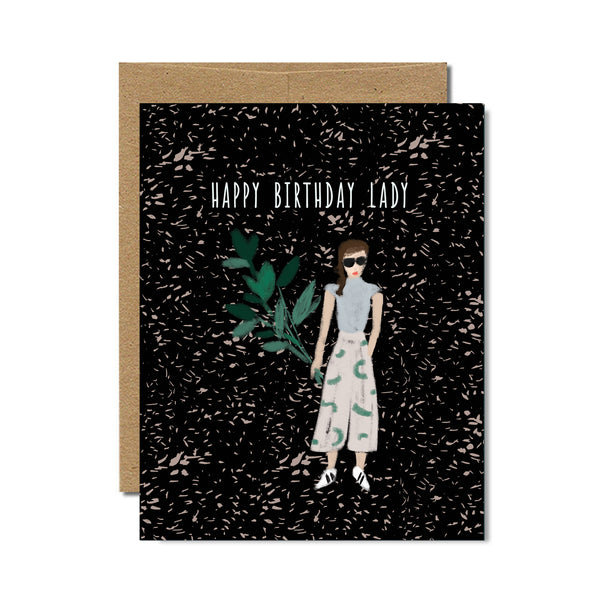Happy birthday lady birthday card - Ferme à Papier