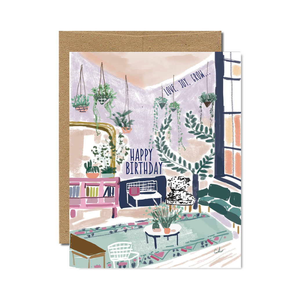 Happy birthday room birthday card - Ferme à Papier