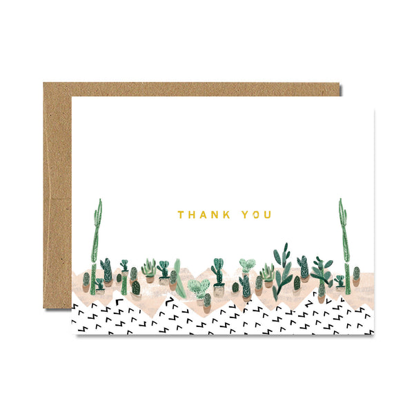 Foil succulent thank you card - Ferme à Papier
