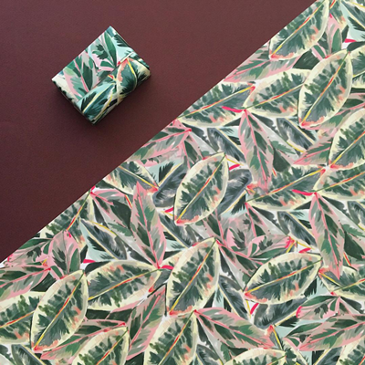Green leaf gift wrap