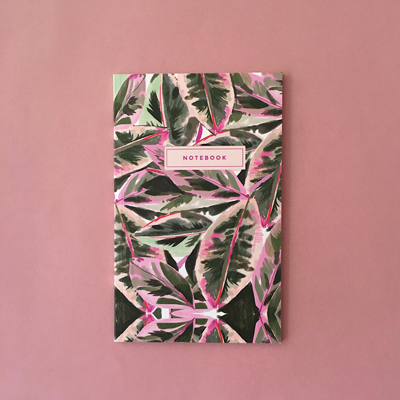 Pink leaf notebook