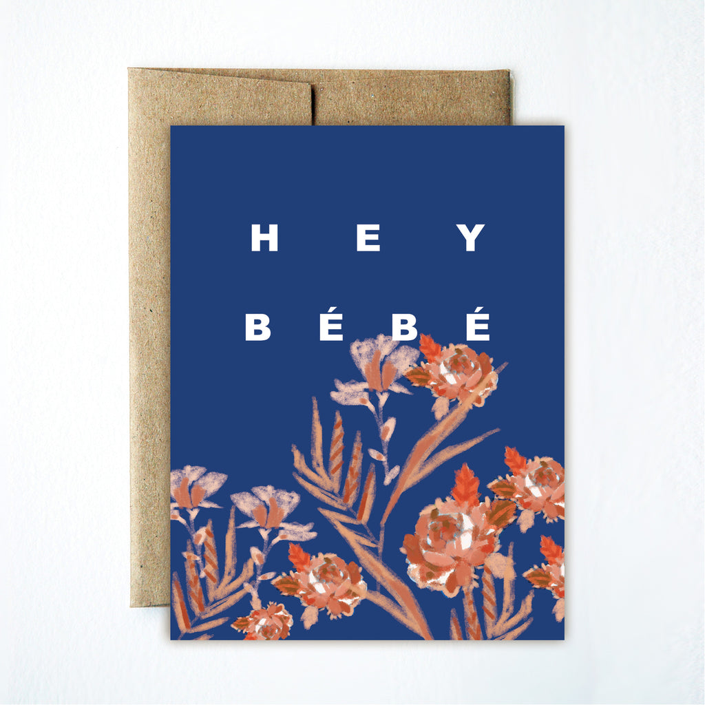 Rose hey bebe card - Ferme à Papier