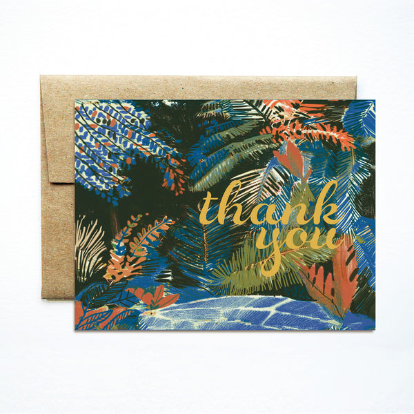 Foil palms blue thank you card - Ferme à Papier